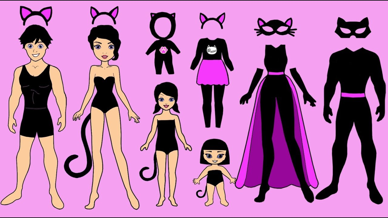 Paper dolls. Dress up CAT family😺Homemade Papercrafts ...
